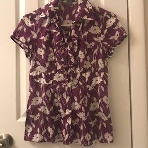 5/$25 Ann Taylor 100% cotton floral top size 0